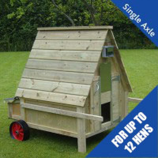12 Bird Chicken House with Wheels & 25m Electric Netting Kit